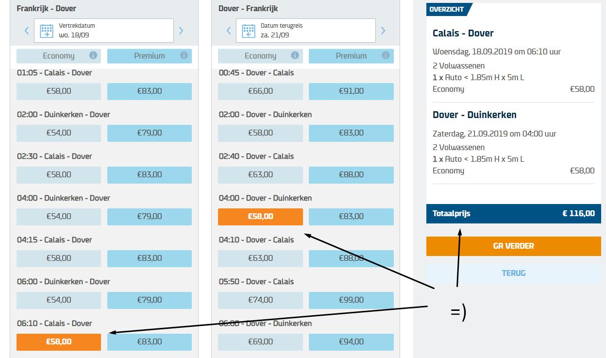 ticket prijs DFDS calais dover